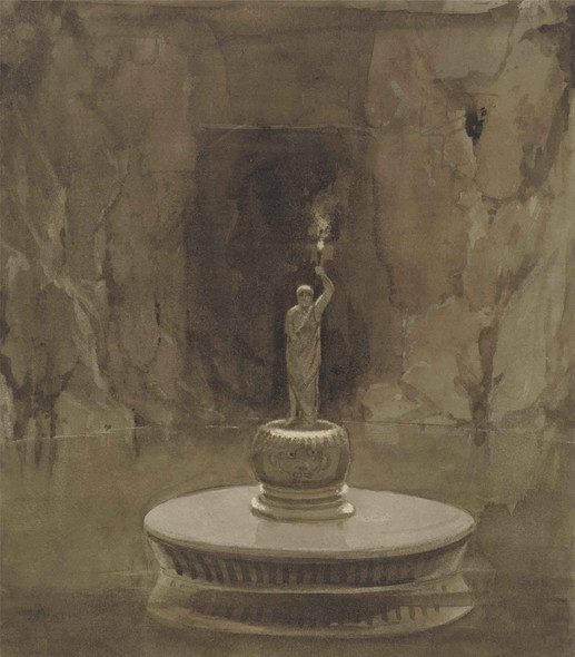Subterranean Pool With Sculptural Torchere By Francis Danby