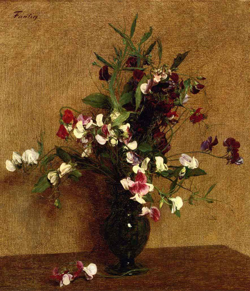 Sweet Peas In A Vase By Henri Fantin Latour By Henri Fantin Latour
