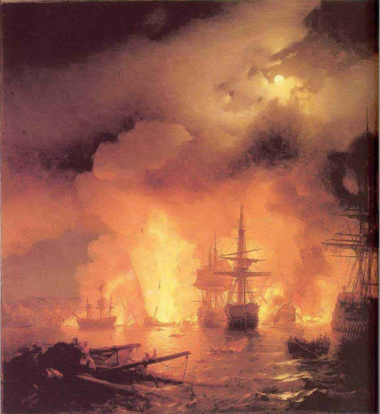 The Battle Of Chesme. By Ivan Constantinovich Aivazovsky By Ivan Constantinovich Aivazovsky