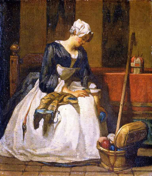 The Embroiderer By Jean Baptiste Simeon Chardin By Jean Baptiste Simeon Chardin