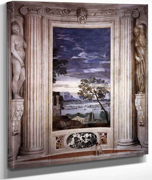 Villa Barbaro Landscape With Harbour By Paolo Veronese