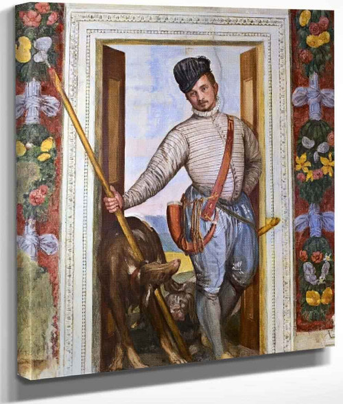 Villa Barbaro Nobleman Back From The Hunt By Paolo Veronese