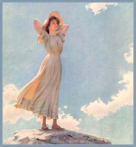 Woman On The Top Of A Mountain By Charles Courtney Curran By Charles Courtney Curran
