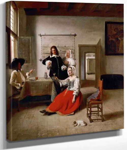 Young Woman Drinking By Pieter De Hooch