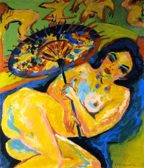 Young Woman Under A Japanese Umbrella By Ernst Ludwig Kirchner By Ernst Ludwig Kirchner