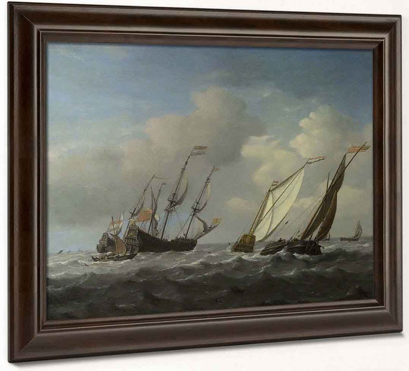 A Dutch Ship, A Yacht And Smaller Vessels In A Breeze By Willem Van De Velde The Younger