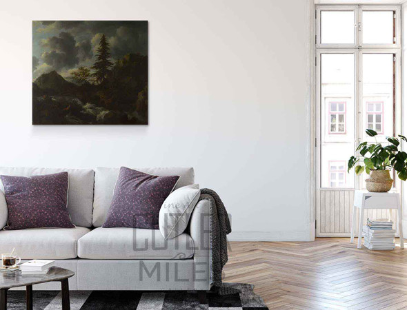 A Torrent In A Mountainous Landscape By Jacob Van Ruisdael
