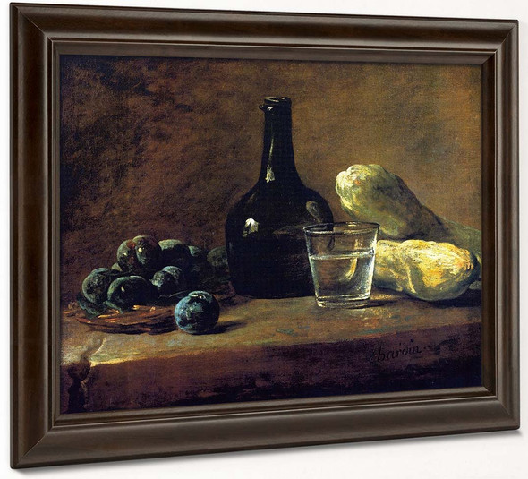 Basket Of Plums, Bottle, Glass Of Water And Cucumbers By Jean Baptiste Simeon Chardin By Jean Baptiste Simeon Chardin