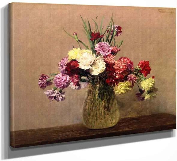 Carnations 21` By Henri Fantin Latour By Henri Fantin Latour
