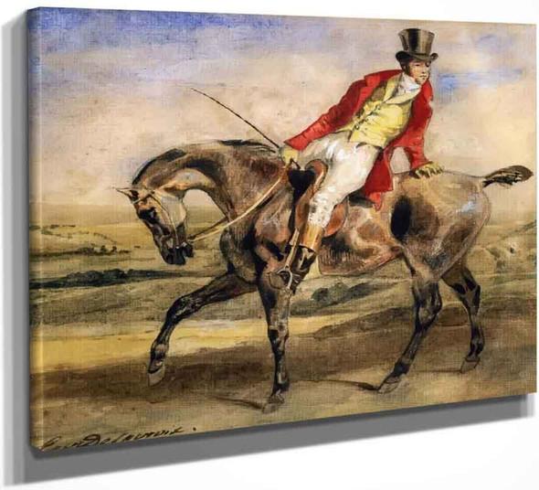 Gentleman On A Dark Brown Hunter By Eugene Delacroix By Eugene Delacroix