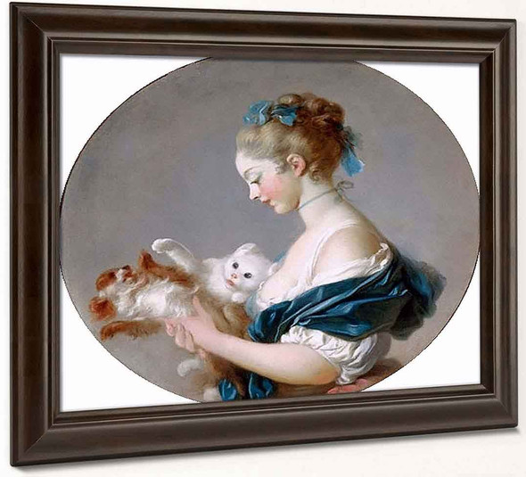 Girl Playing With A Dog And A Cat By Jean Honore Fragonard