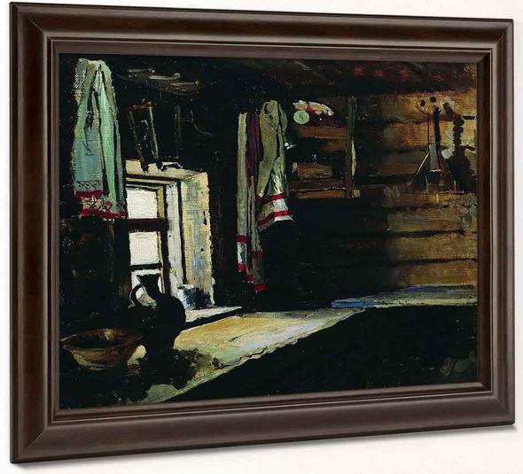 Interior Of A Peasant House By Sergei Arsenevich Vinogradov Russian 1869 1938