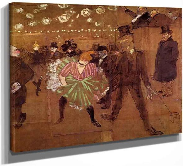 Le Goulue Dancing With Valentin Le Desosse By Henri De Toulouse Lautrec