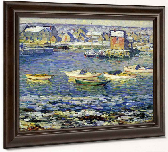 Rockport, Boats In A Harbor By Robert Spencer