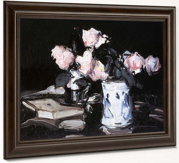 Roses In A Blue And White Vase, Black Background By Samuel John Peploe