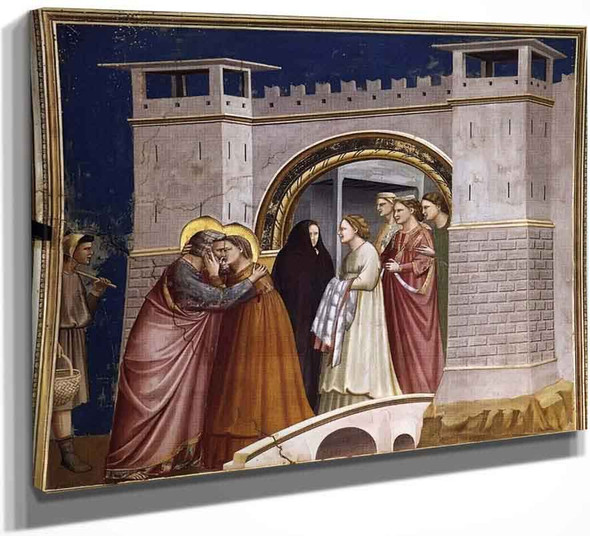 Scenes From The Life Of Joachim 6. Meeting At The Golden Gate By Giotto Di Bondone By Giotto Di Bondone