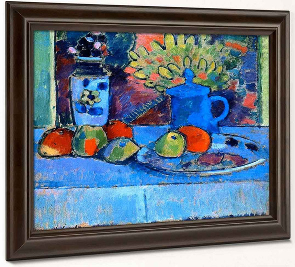 Still Life With Flowers And Fruit By Alexei Jawlensky By Alexei Jawlensky