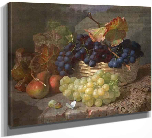Still Life With Grapes In And Beside A Basket By Eloise Harriet Stannard