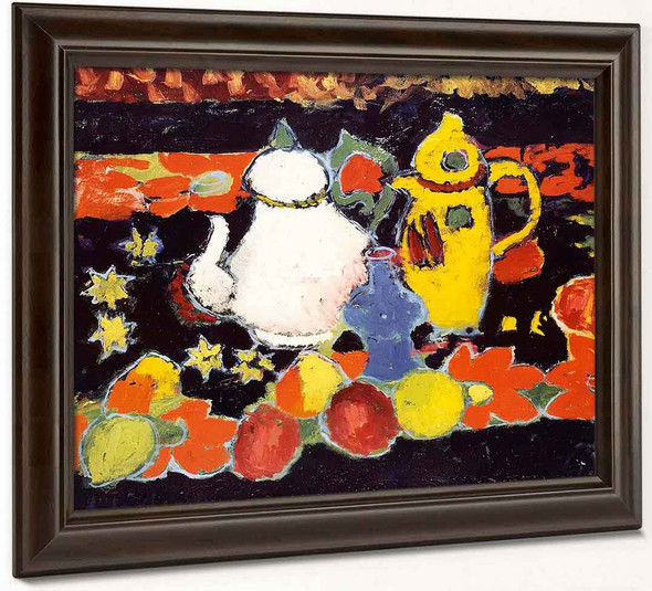 Still Life With Yellow Coffee Pot And White Tea Pot By Alexei Jawlensky By Alexei Jawlensky
