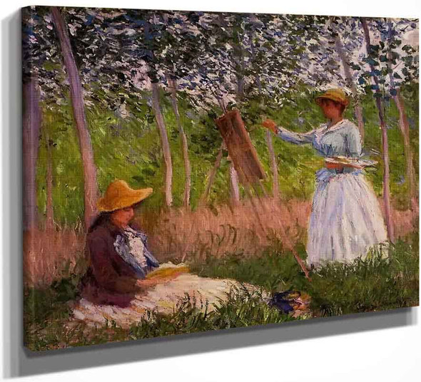 Suzanne Reading And Blanche Painting By The Marsh At Giverny By Claude Oscar Monet