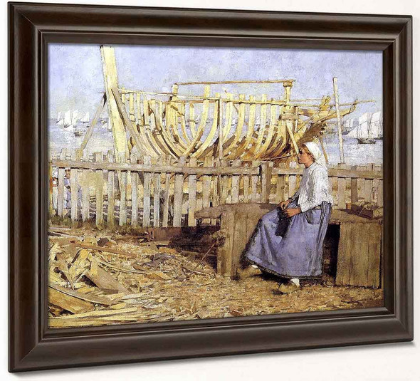The Boat Builder's Yard Cancale Brittany By Henry La Thangue