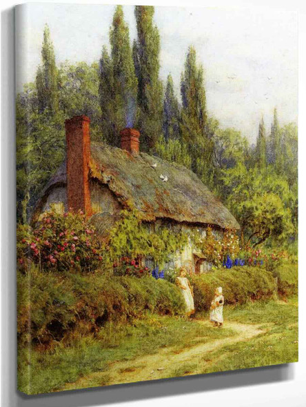 Children On A Path Outside A Thatched Cotate, West Horsley, Surrey By Helen Allingham By Helen Allingham