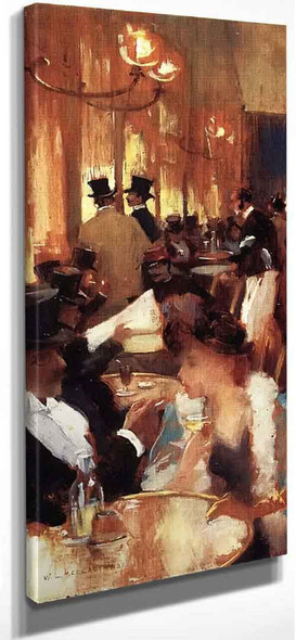 Au Cafe By Willard Leroy Metcalf