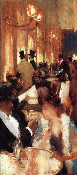 Au Cafe By Willard Leroy Metcalf Art Reproduction