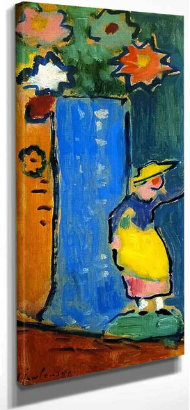 Blue Vase With Small Biedermeier Figure By Alexei Jawlensky By Alexei Jawlensky