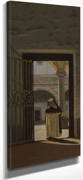 Interior Of A Cloister  By Giuseppe Abbati By Giuseppe Abbati