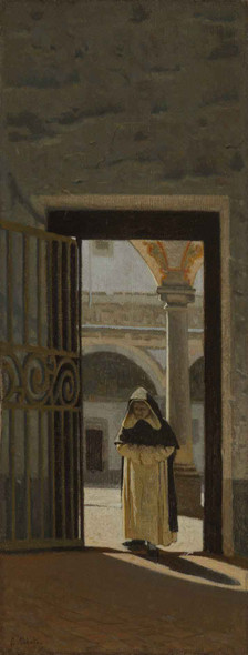 Interior Of A Cloister By Giuseppe Abbati By Giuseppe Abbati Art Reproduction