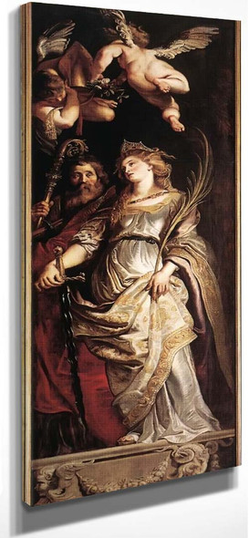 Raising Of The Cross Sts Eligius And Catherine By Peter Paul Rubens