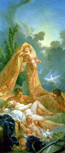 Venus And Mars Surprised By Vulcan By Francois Boucher Art Reproduction