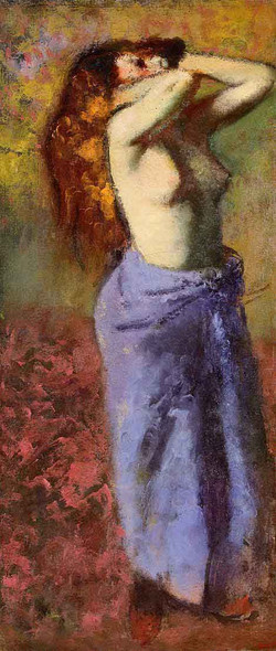 Woman In A Blue Dressing Gown, Torso Exposed By Edgar Degas