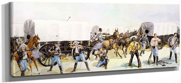 Attach On The Supply Train By Frederic Remington