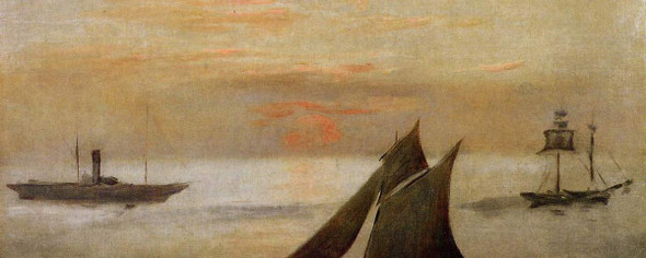 Boats At Sea, Sunset By Edouard Manet