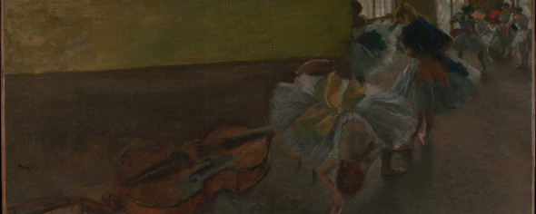 Dancers In The Rehearsal Room With A Double Bass By Edgar Degas