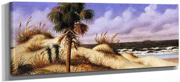 Florida Seascape With Sand Dune, Palm Tree, And Steamship By William Aiken Walker