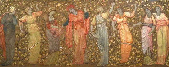 Frieze Of Eight Women Gathering Apples By Sir Edward Burne Jones