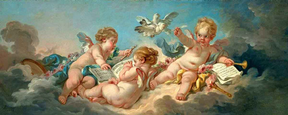 Putti Making Music By Francois Boucher