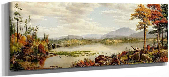 Raquette Lake The Start Of Autumn By Levi Wells Prentice By Levi Wells Prentice