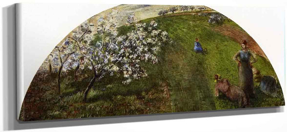 Springtime Peasants In A Field By Camille Pissarro
