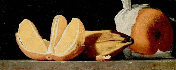Sustenance, A Still Life With Oranges And A Banana By John Frederick Peto By John Frederick Peto