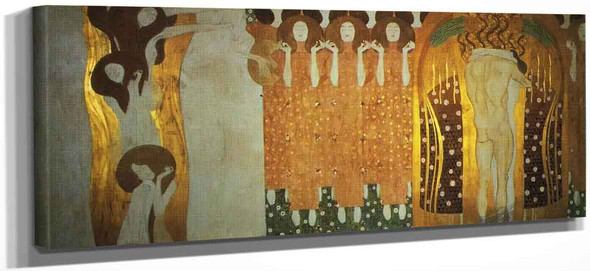 The Beethoven Frieze The Longing For Happiness Finds Repose In Poetry By Gustav Klimt