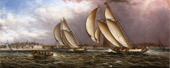 Yacht Race In Gloucester Harbor By James E. Buttersworth