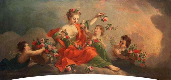 Aurora With Three Putti Offering Flowers By Johann Heinrich Tischbein The Elder Aka The Kasseler Tischbein German 1722 1789