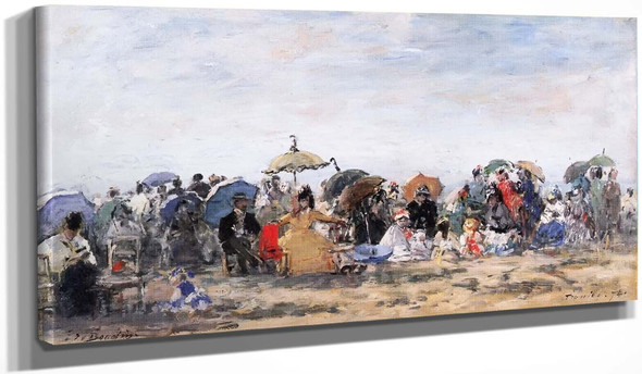 Beach Scene At Trouville 223 By Eugene Louis Boudin