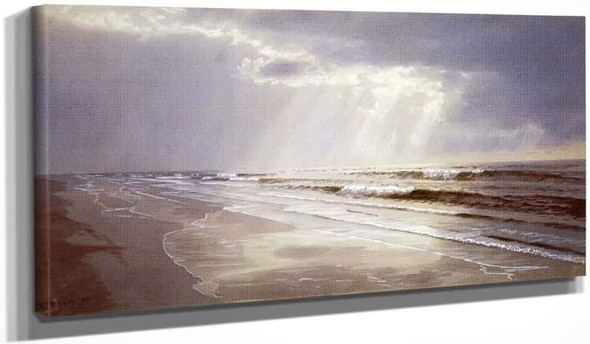 Beach With Sun Drawing Water By William Trost Richards By William Trost Richards