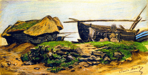 Caloges And Boat At Etretat By Claude Oscar Monet