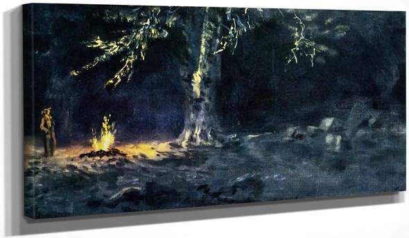 Campfire, Yosemite Valley 2 By Albert Bierstadt
